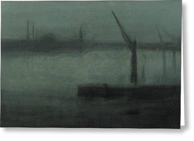 Nocturne Blue And Silver Battersea Reach Greeting Card by James Abbott McNeill Whistler