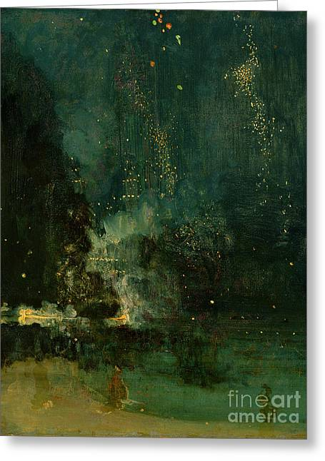 Golds Greeting Cards - Nocturne in Black and Gold - the Falling Rocket Greeting Card by James Abbott McNeill Whistler