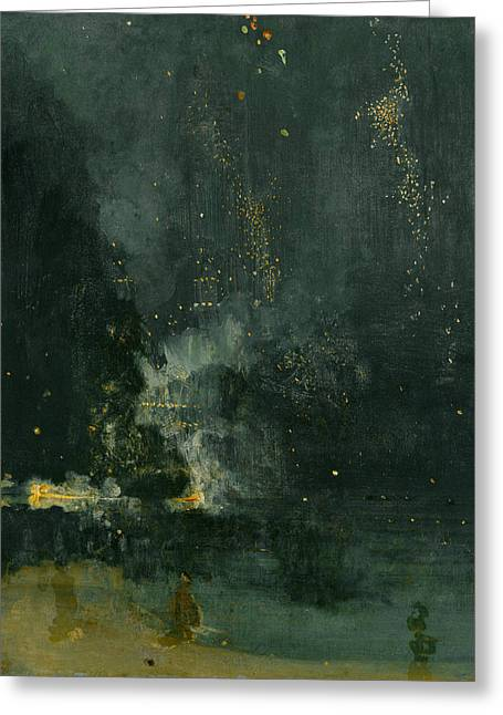 Nocturne In Black And Gold Greeting Card by James Abbott McNeill Whistler