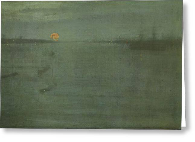 Nocturne In Blue And Gold - Southampton Water Greeting Card by James Abbott McNeill Whistler