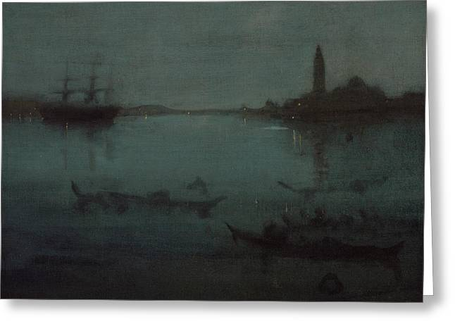 Nocturne In Blue And Silver The Lagoon Venice Greeting Card by James Abbott McNeill Whistler