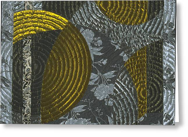 Abstract Quilt Tapestries - Textiles Greeting Cards - Nocturne1 Greeting Card by Marilyn Henrion