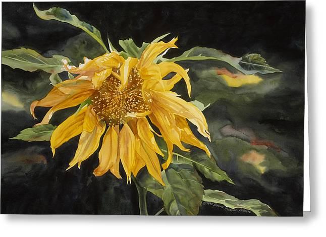 Nodding Sunflower Greeting Card by Donna Barnes-Roberts
