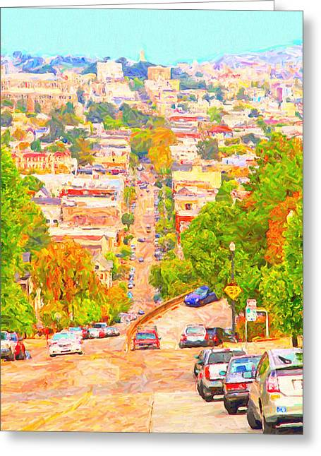 Eureka Valley Greeting Cards - Noe Street San Francisco Greeting Card by Wingsdomain Art and Photography