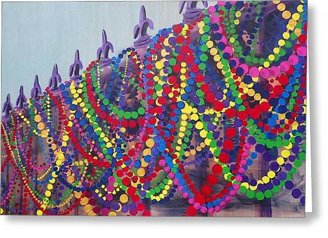 Mardi Gras Beads Greeting Card