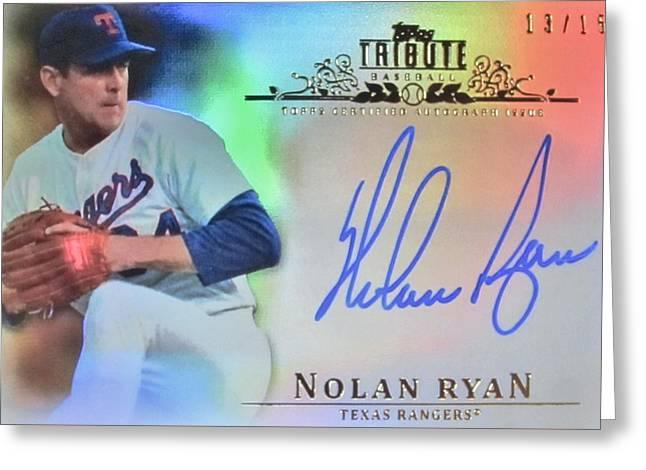Nolan Ryan Greeting Card by Donna Wilson