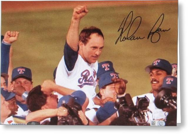Nolan Ryan Texas Rangers Famed No Hitter Greeting Card by Donna Wilson