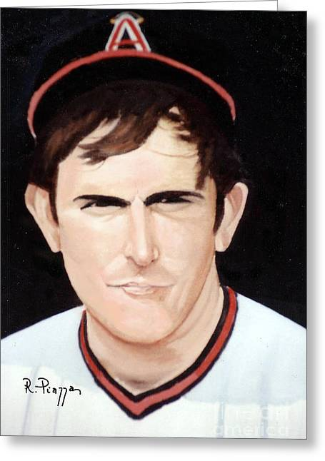 Nolan Ryan With The Angels Greeting Card by Rosario Piazza