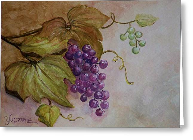 Nonnie's Grapes Greeting Card by Yvonne Kinney