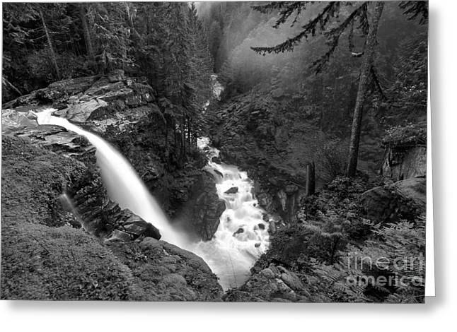 Nooksack Falls Landscape - Back And White Greeting Card