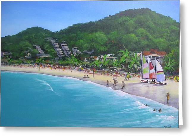 Greeting Card featuring the painting Noosa Fun Acrylic Painting by Chris Hobel