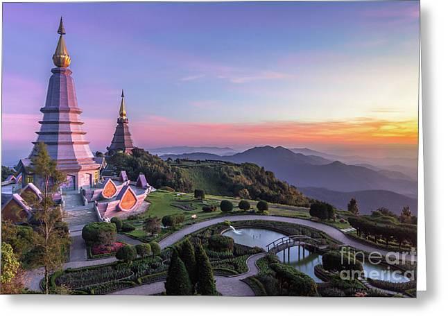 Noppamethanedol And Noppapol Phumsiri Pagoda And Picturesque Sunset Sky. Doi Inthanon, Thailand Greeting Card by Maxim Zabarovsky
