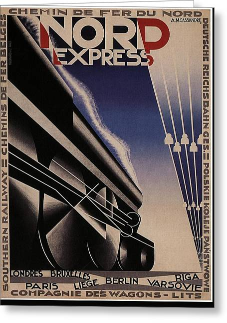 Nord Express - Steam Engine Locomotive - Vintage Art Deco Poster Greeting Card