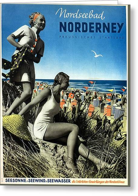 Norderney Vintage Collage Poster - Girls On A Beach Greeting Card