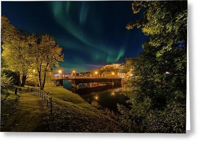Nordlys Or Northern Light Over Trondheim Greeting Card by Aziz Nasuti