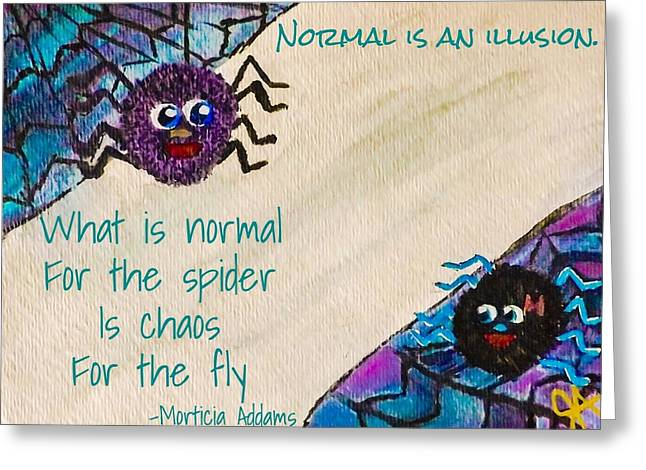 Normal Spider Chaos Fly Greeting Card by Jennifer Turner