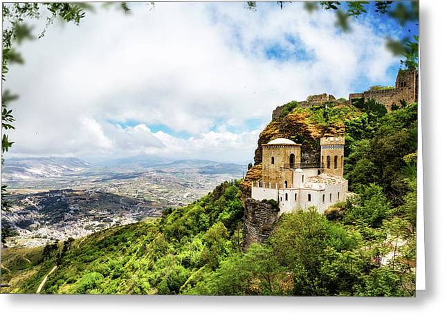 Norman Castle On Mount Erice - Sicily Italy Greeting Card