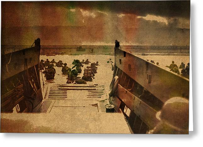Normandy Beach On Dday World War Two Watercolor Tinted Historical Photograph On Worn Canvas Greeting Card
