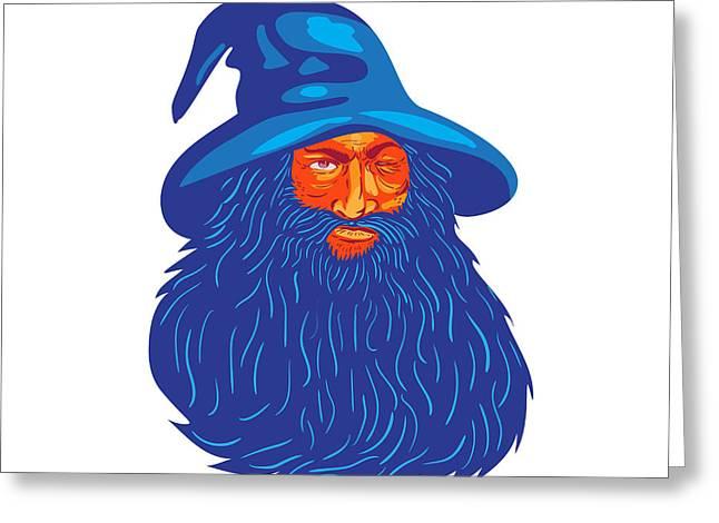 Norse God Odin Beard Wpa Greeting Card