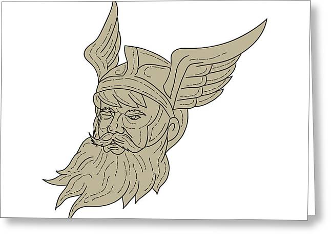 Norse God Odin Head Drawing Greeting Card