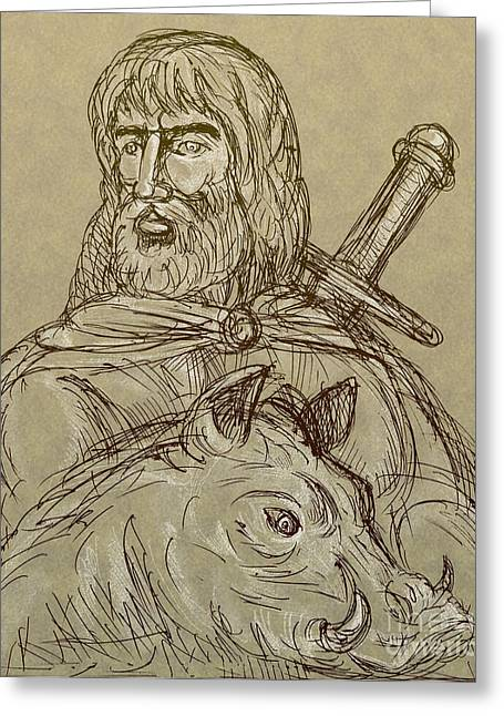 Norse God Of Agriculture Greeting Card by Aloysius Patrimonio