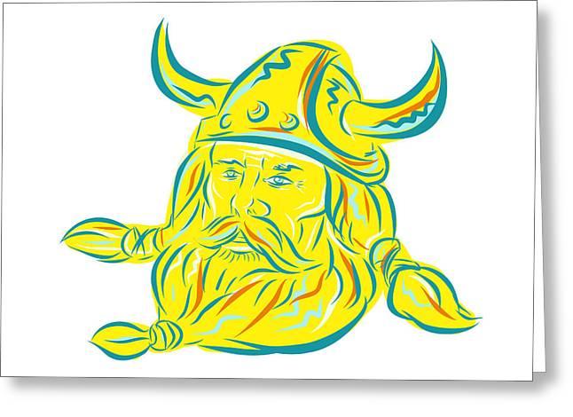 Norseman Viking Beard Etching Greeting Card