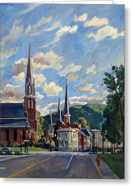 Abstract Realist Landscape Greeting Cards - North Adams Massachusetts Greeting Card by Thor Wickstrom