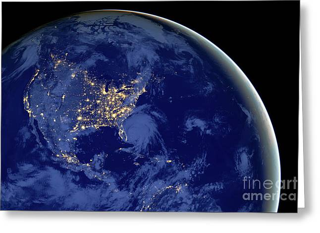 Greeting Card featuring the photograph North America From Space by Delphimages Photo Creations