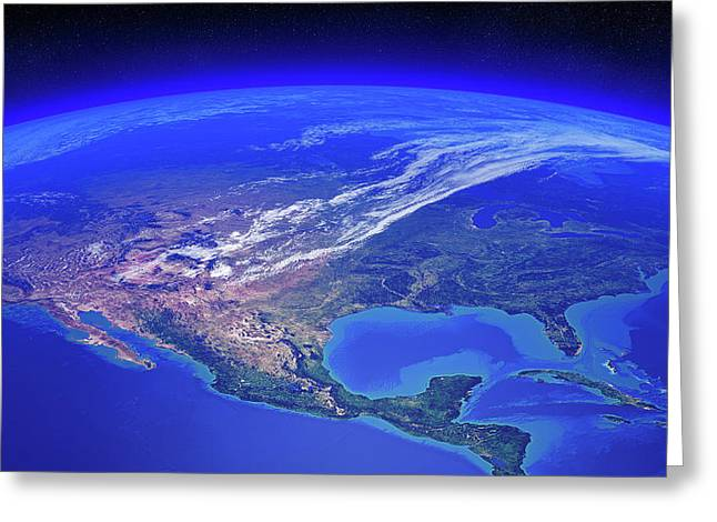North America Seen From Space Greeting Card