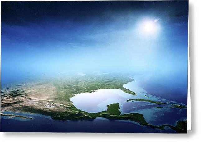 North America Sunrise Aerial View Greeting Card