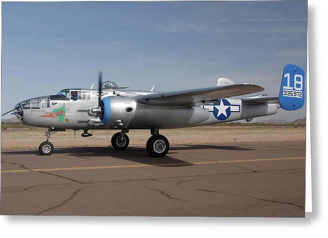 North American B-25j Mitchell Maid In The Shade N125az Casa Grande Airport Arizona March 5 2011 Greeting Card by Brian Lockett
