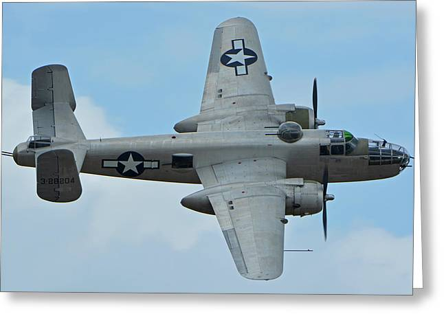 Greeting Card featuring the photograph North American B-25j Mitchell N9856c Pacific Princess Chino California April 30 2016 by Brian Lockett