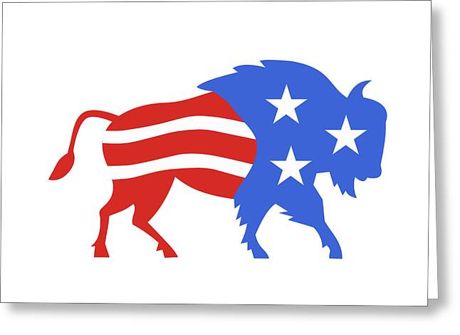 North American Bison Usa Flag Retro Greeting Card