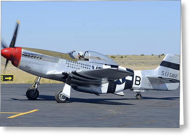 North American P-51d Mustang Nl5441v Spam Can Valle Arizona June 25 2011 3 Greeting Card