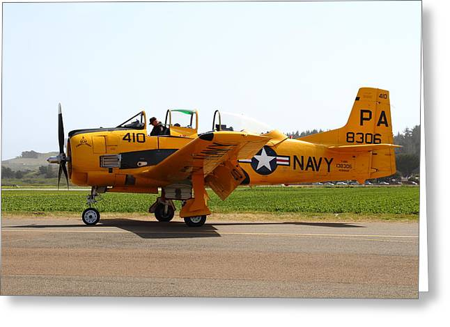 Military Airplanes Greeting Cards - North American T28 Trojan US Navy Aircraft 7d15808 Greeting Card by Wingsdomain Art and Photography