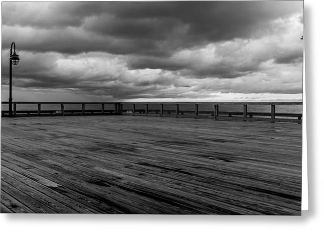 North Beach Pier With Clouds Greeting Card by Joseph Smith