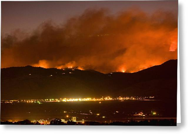 North Boulder Colorado Fire Above In The Hills Greeting Card