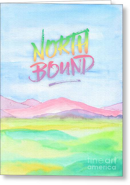North Bound Pink Purple Mountains Watercolor Painting Greeting Card by Beverly Claire Kaiya