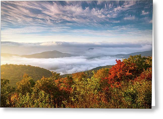 North Carolina Autumn Sunrise Blue Ridge Parkway Fall Foliage Nc Mountains Greeting Card by Dave Allen