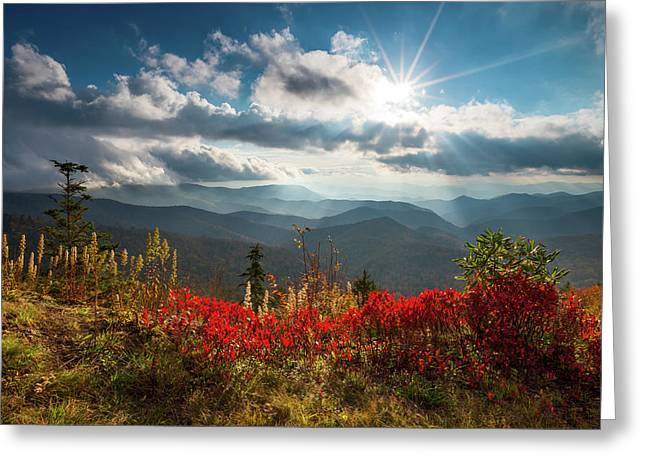 North Carolina Blue Ridge Parkway Scenic Landscape In Autumn Greeting Card