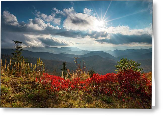 North Carolina Blue Ridge Parkway Scenic Landscape In Autumn Greeting Card by Dave Allen