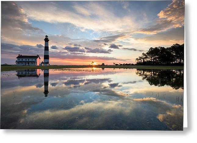 North Carolina Bodie Island Lighthouse Sunrise Greeting Card by Mark VanDyke