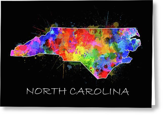 North Carolina Color Splatter 2 Greeting Card