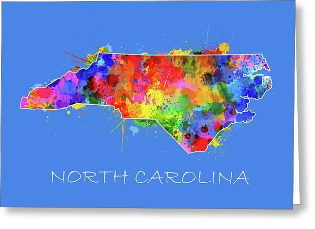 North Carolina Map Color Splatter 3 Greeting Card