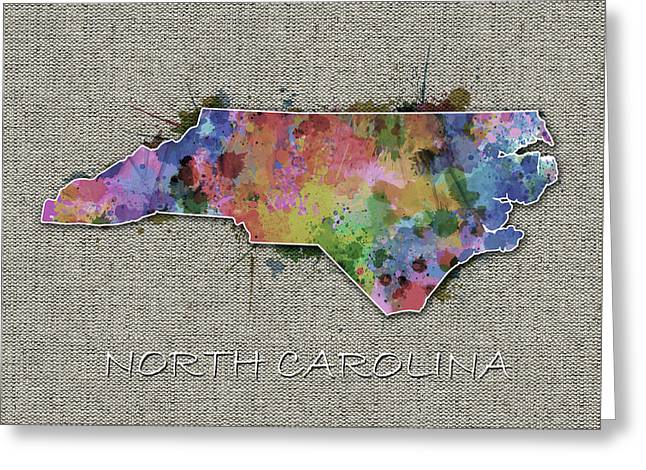 North Carolina Map Color Splatter 5 Greeting Card