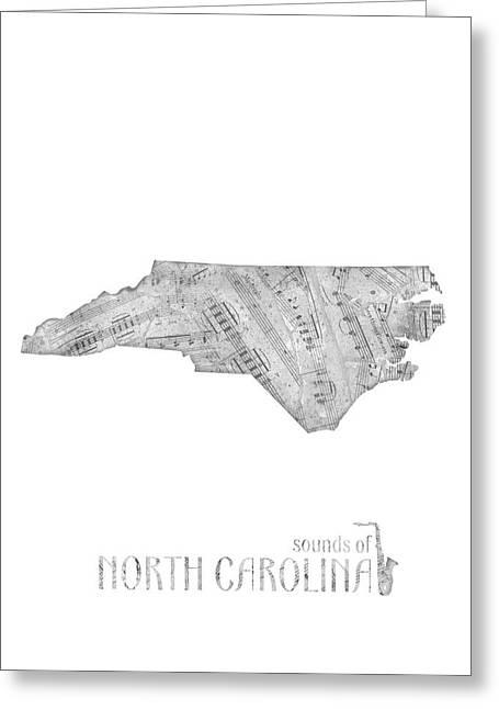 North Carolina Map Music Notes Greeting Card