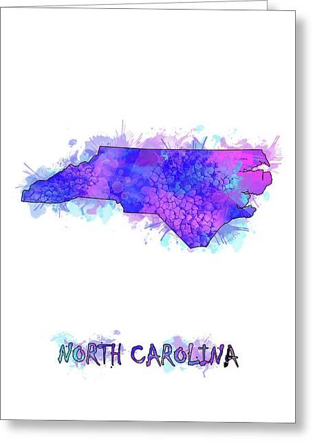 North Carolina Map Watercolor 2 Greeting Card