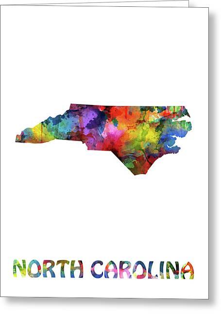 North Carolina Map Watercolor Greeting Card