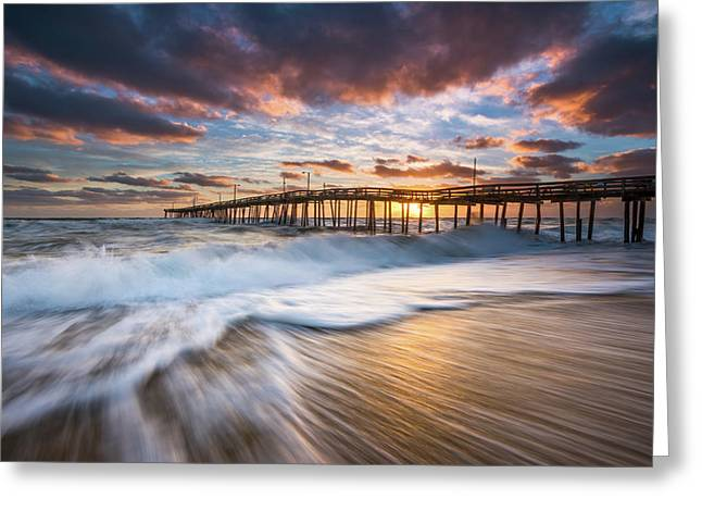 North Carolina Outer Banks Seascape Nags Head Pier Obx Nc Greeting Card
