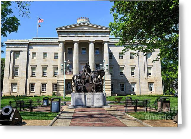 North Carolina State Capitol Building With Statue Greeting Card